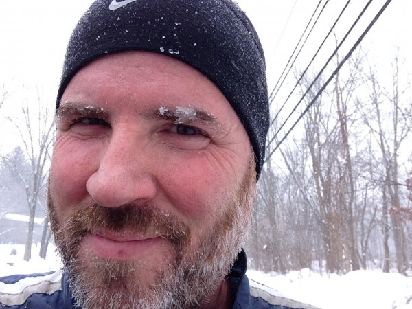 No, that's not more gray in my eyebrows.  It's snow.
