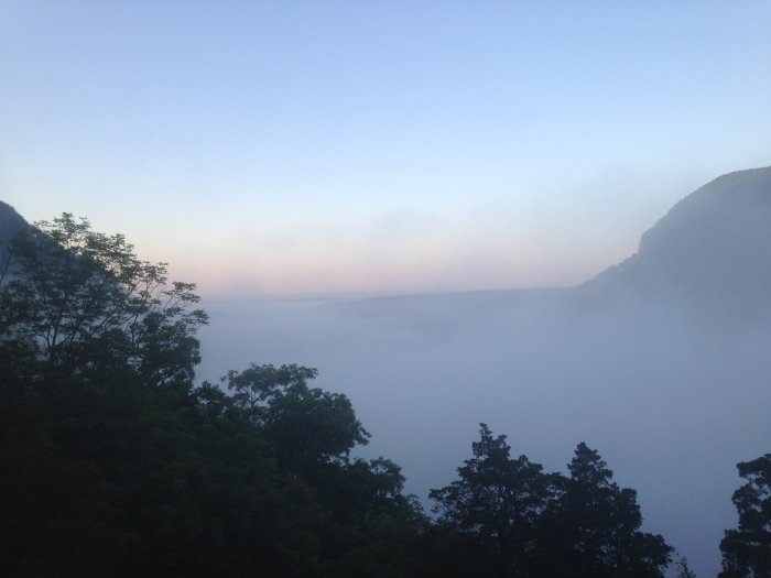 Fog over the Delaware River between Mt. Tammany and Mt. Minsi