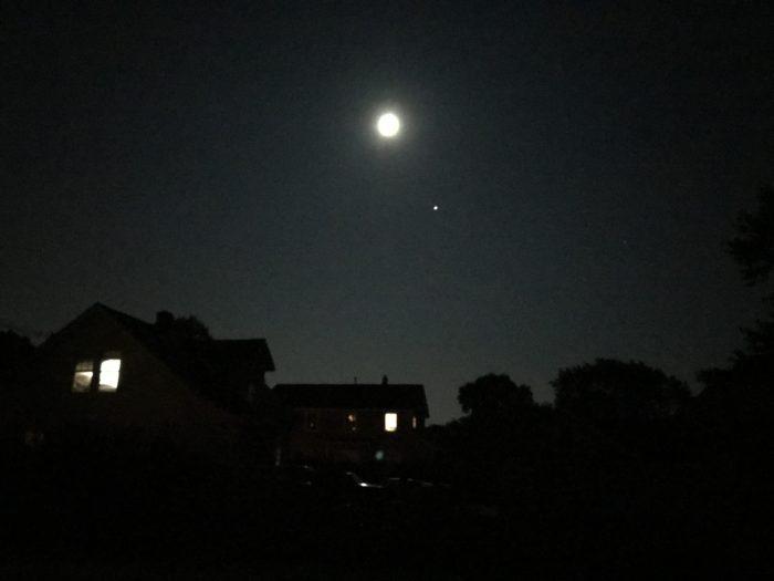 Mars and a Nearly Full Moon Over my Neighborhood